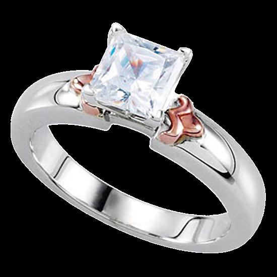 14k White Gold Diamond Princess Cut Diamond Engagement Solitaire Ring 1.02ct VS2