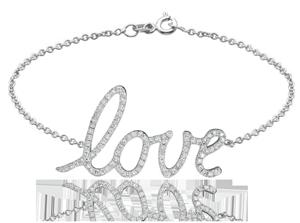 18K White Gold Fashion Love Bracelet with 0.4Ct, G Color, VS1 Clarity Diamonds
