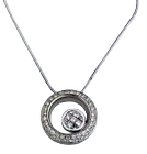 18k White Gold Invisible Chain With 0.76Ct Double Hoop Pendant, G Color, VS1 Clarity