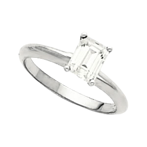 14k White Gold Emerald cut Engagement Ring 0.74ct F Color VS1