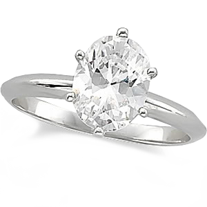 14k White Gold Oval Cut Solitaire Engagement Ring 1ct VVS
