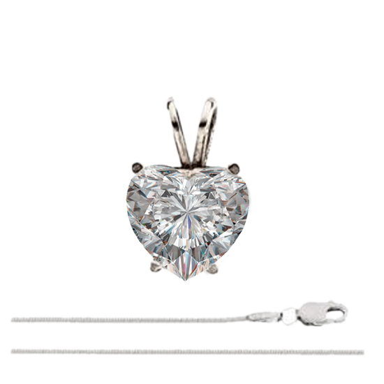18k White Gold Chain Pendant With 0.8ct Heart Cut Diamond