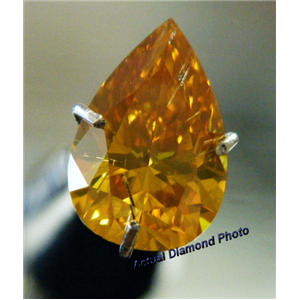 Pear Cut Loose Diamond (1.02 Ct, DEEP ORANGY YELLOW(HPHT Color Treated) ,SI2) GIA Certified