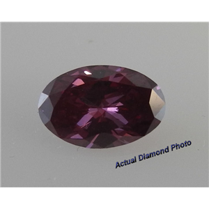 Oval Cut Loose Diamond (0.6 Ct, Fancy Deep Purplish Pink(Hpht Color Treated) ,VS2)