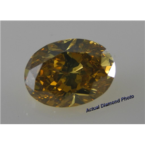 Oval Cut Loose Diamond (5.02 Ct, Fancy Deep Brownish Yellow(Hpht Color Treated) ,VVS2)