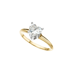 Heart Diamond Solitaire Engagement Ring, 14K Yellow Gold (0.7 Ct, H Color, SI2 Clarity) GIA Certified
