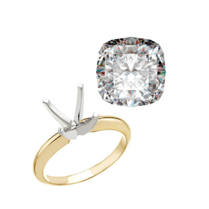 Cushion Diamond Solitaire Engagement Ring 14K Yellow Gold 0.9 Ct, J , SI2