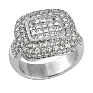 18k White Gold Layered Pave Set Princess & Round Cut Diamonds Halo Engagement Ring (2.46 Ct., G Color, VS1 Clarity)