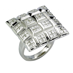 18k White Gold Box Shaped Fashion Engagment Ring With Invisible Setting Princess Cut Diamonds  (2.23 Ct., G Color, VS1 Clarity)