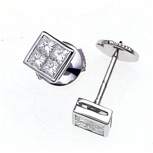 18k White Gold Screw Back Princess Cut Diamond Fashion Earings (0.57 Ct., G Color, VS1 Clarity)