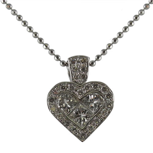 18k White Gold Invisible Set Princess & Round Cut Diamonds In A Heart Shaped Pendant with Chain (0.66 Ct., G Color, VS1 Clarity)