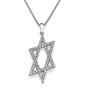 18k White Gold Star Of David With Prong Set Round Cut Diamonds Fashion Pendant With Chain (0.55 Ct., G Color, VS1 Clarity)