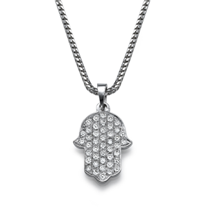 18k White Gold Solid Hamsa Shaped Pendant With Round Cut Diamonds With Chain (0.64 Ct., G Color, VS1 Clarity)
