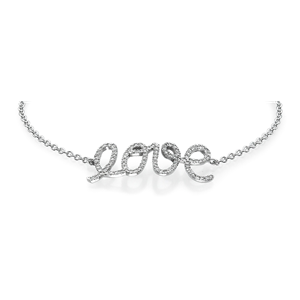 18k White Gold Love Pendant with Round Cut Diamonds With Chain (0.52 Ct., G Color, VS1 Clarity)