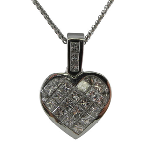 18k White Gold Invisible Set Princess Cut Diamonds In A Heart Pendant with Chain (2.17 Ct., G Color, VS1 Clarity)