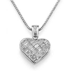 18k White Gold Invisible Set Baguette Cut Diamonds In A Heart Pendant with Chain (2.51 Ct., G Color, VS1 Clarity)