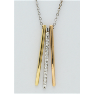 18k three tone gold Three pin modern pendant set with round cut diamonds on a trendy curb chain (0.1 Ct G ,VS)