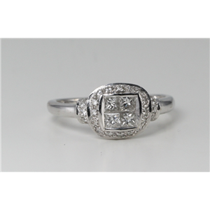 18k White Gold & Princess Invisible Setting diamond head ring with a pavee set shank(0.63ct, G, VS)