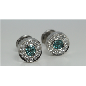 18k White & 0 Illusion Setting Blue princess diamond Studs with a bezel surround(BLUE & White Diamonds, VS)