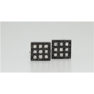 18k White Princess Illusion Setting Chequered black round  Studs BLACK & White Diamonds,VS