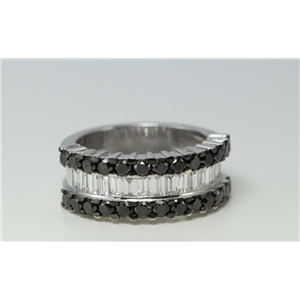 18k White Gold BAGUETTE Channel Setting Classic & Round half eternity Ring(BLACK & White Diamonds, VS)