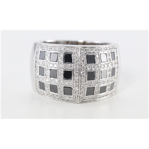 18k White Gold Pave black & white diamond set chessboard effect ring(Black & White)(Irradiated)