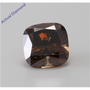Cushion Cut Loose Diamond (2.9 Ct, Natural Fancy Dark Orange Brown, SI1) GIA Certified