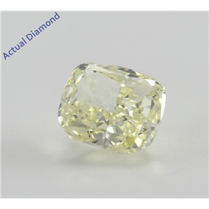 Cushion Cut Loose Diamond (0.53 Ct, Natural Fancy Light Yellow, VS1) GIA Certified