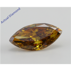 Marquise Cut Loose Diamond (1.51 Ct, Natural Fancy Deep Brownish Orangy Yellow Color, SI1 Clarity) GIA