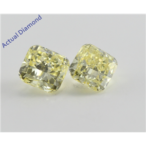 A Pair of Cushion Cut Loose Diamonds (0.65 Ct, Natural Fancy Intense Yellow ,SI1-SI2)