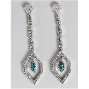 18k White Gold Marquise & Round Cut Diamond Earrings (1.32 Ct, Blue (Color Irradiated) & White Diamonds, VS1-VS2 Clarity)