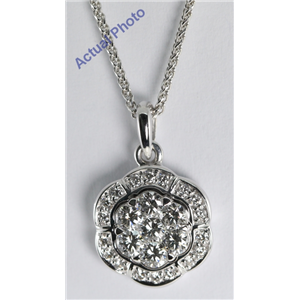18k White Gold Invisible Setting Round Cut Diamond Flower Pendant (0.68 Ct, G Color, VS Clarity)