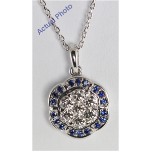 18k White Gold Invisible Setting Round Cut Diamond Flower Pendant (0.53 Ct, G Color with Blue Saphire Stones, VS Clarity)