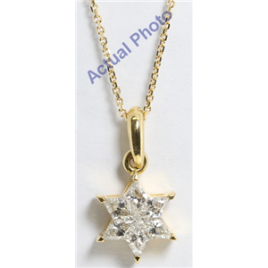 18k Yellow Gold Rhombus Cut Invisible Setting Diamond Star Of David Pendant (0.59 Ct, I Color, VS Clarity)