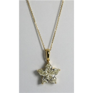18k Yellow Gold Invisible Setting Pear Cut Diamond Flower Pendant (1.31 Ct, J Color, SI1 Clarity)