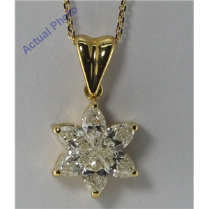 18k Yellow Gold Marquise Cut Invisible setting Diamond Flower Pendant (0.72 Ct, JK Color, VS Clarity)