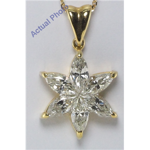 18k Yellow Gold Marquise Cut Invisible setting Diamond Flower Pendant (1.14 Ct, J Color, VS Clarity)