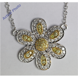 18k White Gold Round Cut Diamond Pave Setting Flower Pendant (0.5 Ct, Natural Fancy Yellow & White Diamonds, SI2 Clarity)
