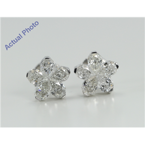18k White Gold Invisible Setting Pear Cut Diamond Flower Earrings (2.27 Ct, G Color, SI1 Clarity)
