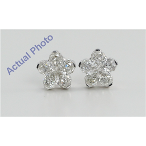 18k White Gold Invisible Setting Pear Cut Diamond Flower Earrings (2 Ct, H Color, SI1 Clarity)
