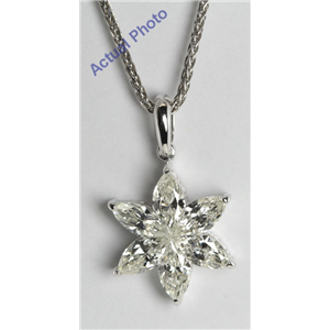 18k White Gold  Invisible Setting Marquise Cut Diamond Flower Pendant (1.34 Ct, I Color, VS Clarity)