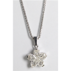18k White Gold Invisible Setting Pear Cut Diamond Flower Pendant (1.12 Ct, G Color, SI Clarity)