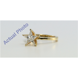 18k Yellow Gold Kite Cut Invisible Setting Multi Stone Star Shaped Diamond Solitaire Engagement Ring (0.39 Ct, G Color, VS Clarity)