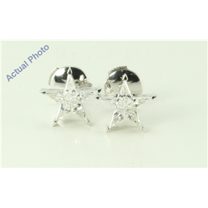 18k White Gold Kite Invisibly Set Five pointed pentangle star diamond earrings with alpha back(0.54ct, G, vs)