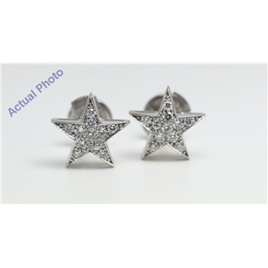 18k White Golds Five pointed star pentangle pave set diamond earrings with alpha back(0.34ct, G, vs)