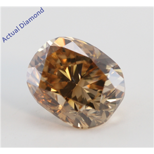 Cushion Cut Loose Diamond (1.01 Ct, Natural Fancy Deep Orange Brown Color, SI2 Clarity) GIA Certified