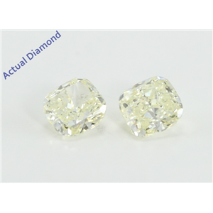 A Pair of Cushion Cut Loose Diamonds (1.05 Ct, Very light natural yellow Color, VS-SI1 Clarity)