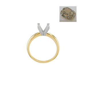 Cushion Diamond Solitaire Engagement Ring 14k  1.21 Ct, Natural Fancy Greenish Yellow-Gray  , SI1-SI2 GIA Certified