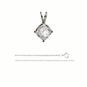 Cushion Diamond Solitaire Pendant Necklace 14K White Gold ( 1.54 Ct, J Color, SI2 Clarity)