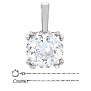 Cushion Diamond Solitaire Pendant Necklace 14K White Gold (0.57 Ct, G Color, VS2 Clarity) GIA Certified